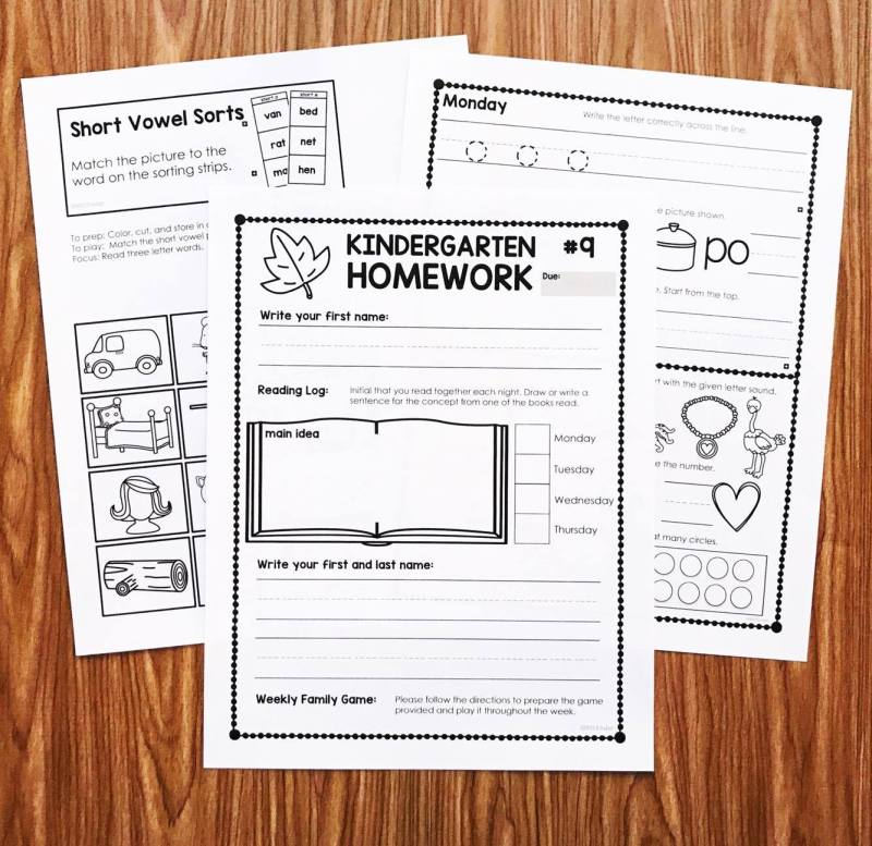 Kindergarten Homework with weekly family games and academic review! Try a week free at Simply Kinder!