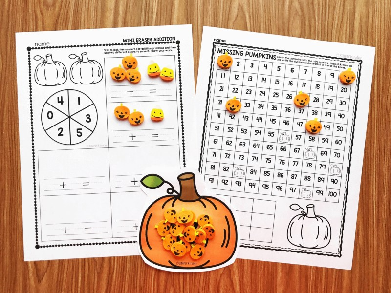 Pumpkin Mini Eraser Set from Simply Kinder. This is a huge file of activities using fun pumpkin mini erasers (or candy corn is fun too!) Counting, sorting, patterning, sound practice, and so much more from Simply Kinder. Perfect for preschool, kindergarten, and first grades!