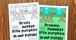 Cutest Little Pumpkin in the Patch Freebie from Simply Kinder. Easily edit the name and adjective using any free Adobe PDF product. Comes in color and black and white.