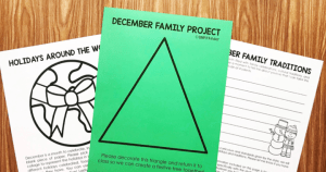 Free December Family Flyers from Simply Kinder. Find out about your students' holiday traditions. Make a fun tree using this triangle you send home. And create this fun Christmas Around the World Project with this fun flyer and a piece of paper.