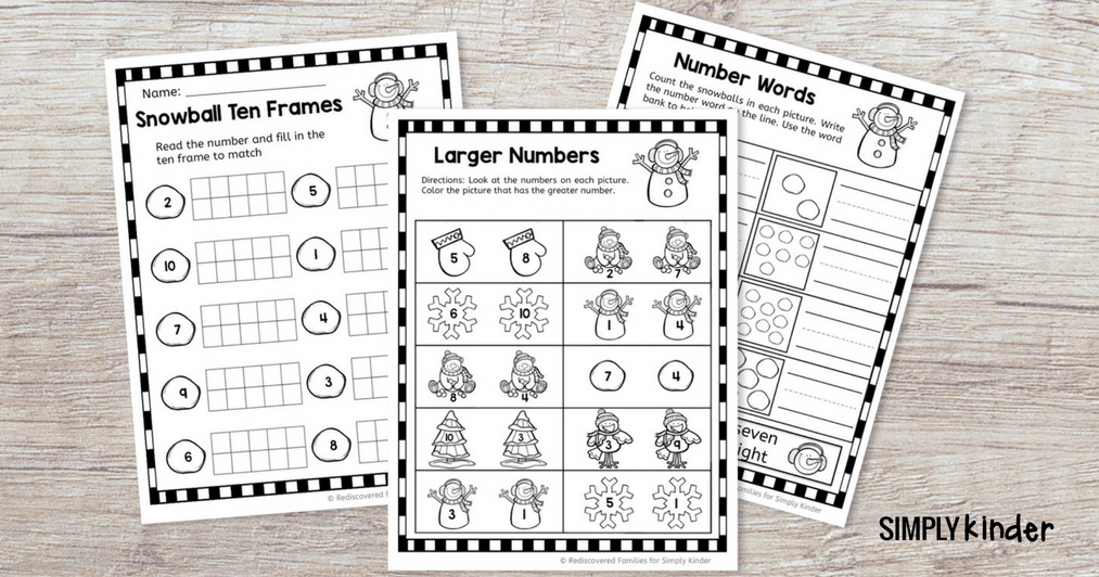 FREE Winter Math Sheets For Kindergarten - Simply Kinder