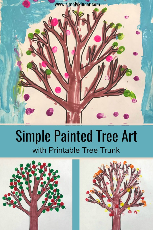Fun painted tree art for kids. Paint a tree for every season with this free tree printable and dot art activity.