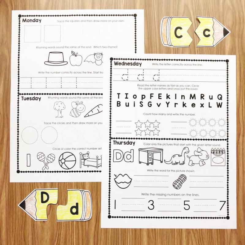 Kindergarten Homework with weekly family games and academic review! Try a week free at Simply Kinder! Free Kindergarten Homework your students, your families, and you will love!