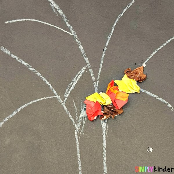 fall leaves fine motor craft in process
