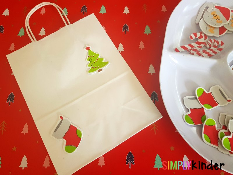 easy christmas sticker gift bags setup 2