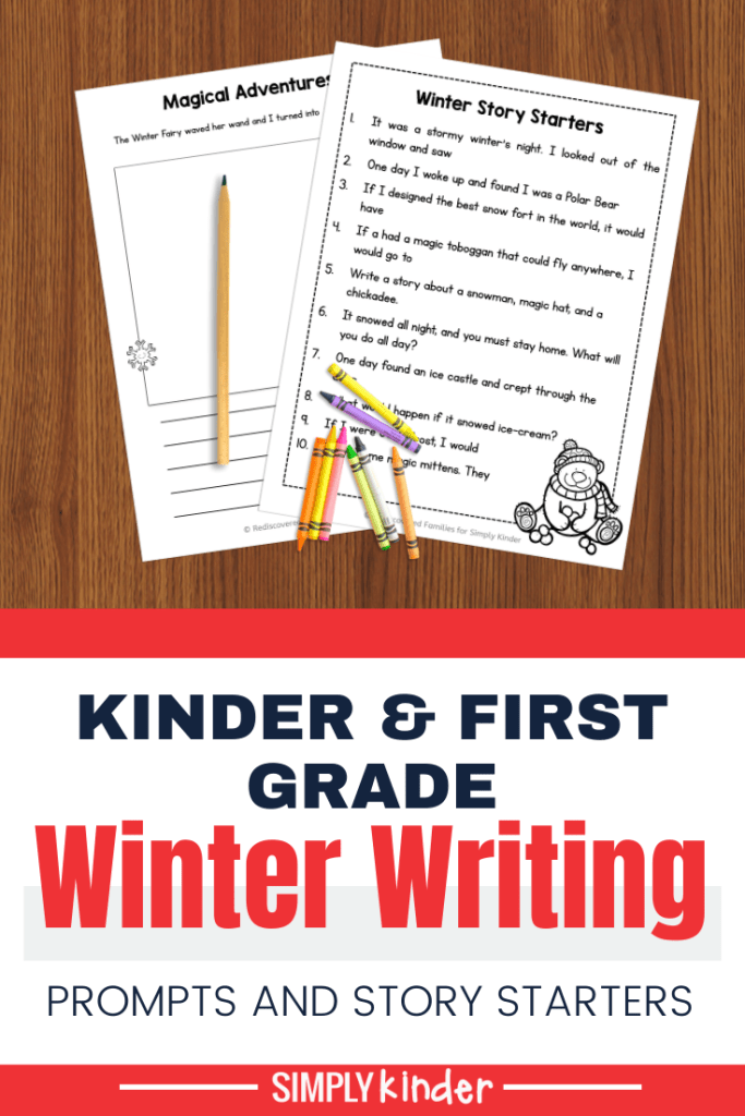 Winter writing prompts pin