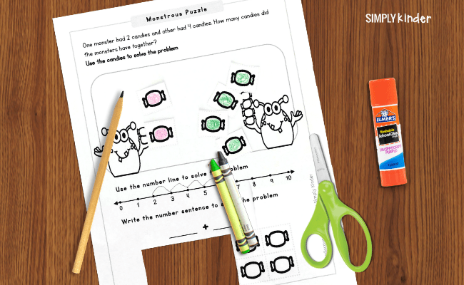 Math worksheet in use
