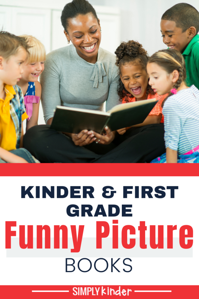 Teacher reading funny picture books to class