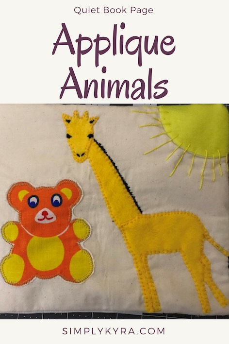 I wanted to introduce you to the other side of one of Zoey's simple quiet book pages. You just need a couple fabric scraps or felt and thread or embroidery floss to decorate the page. Tell me if you make your own!