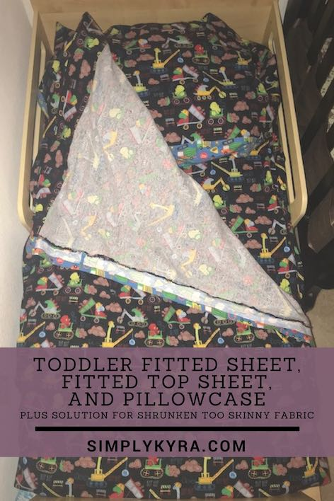 Toddler Fitted Sheet, Fitted Top Sheet, and Pillowcase