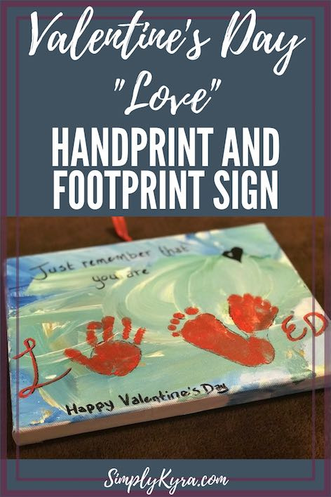 """Valentine's Day """"Loved"""" Handprint and Footprint Door Sign"""