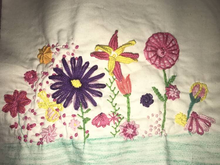 After adding a variety of colors and stitches I decided to take a step back and examine it.