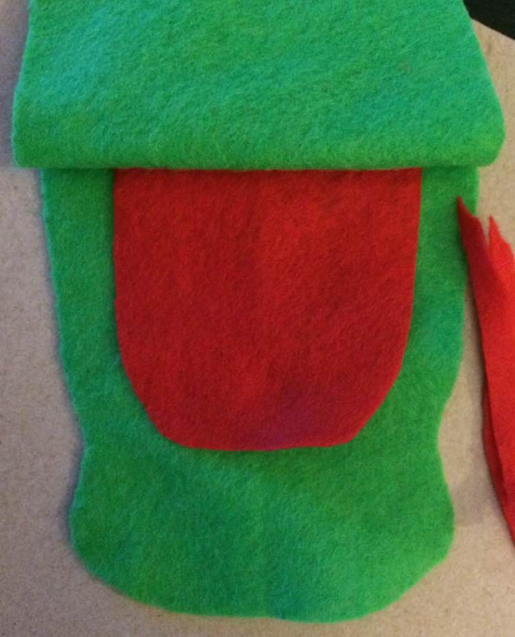 I next cut out a tongue making sure it was the right size and had enough room in the back to be sewn down.