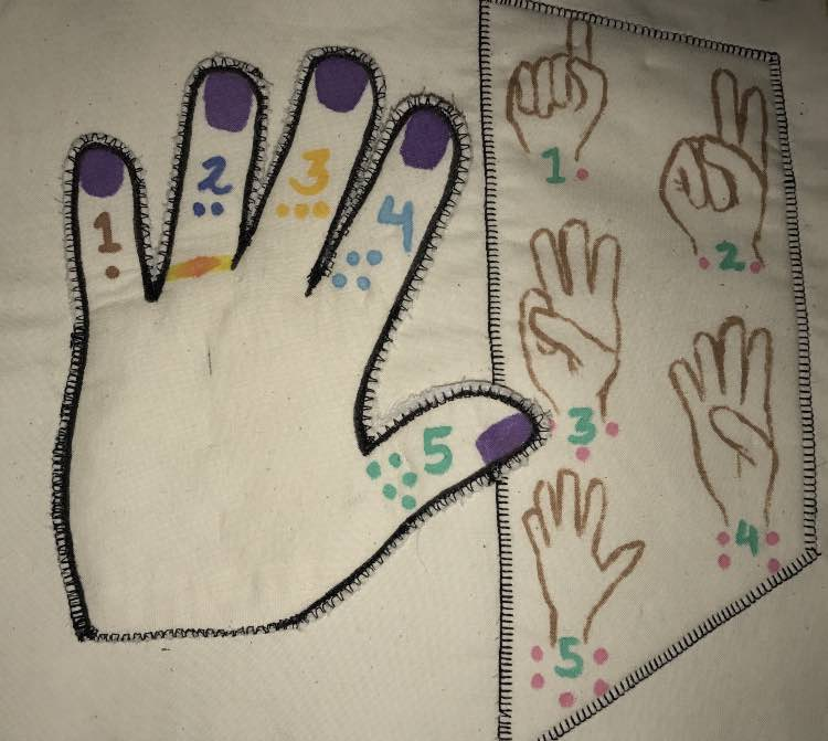 Sewed around the sides of the large hand and sewed the counting hands down.