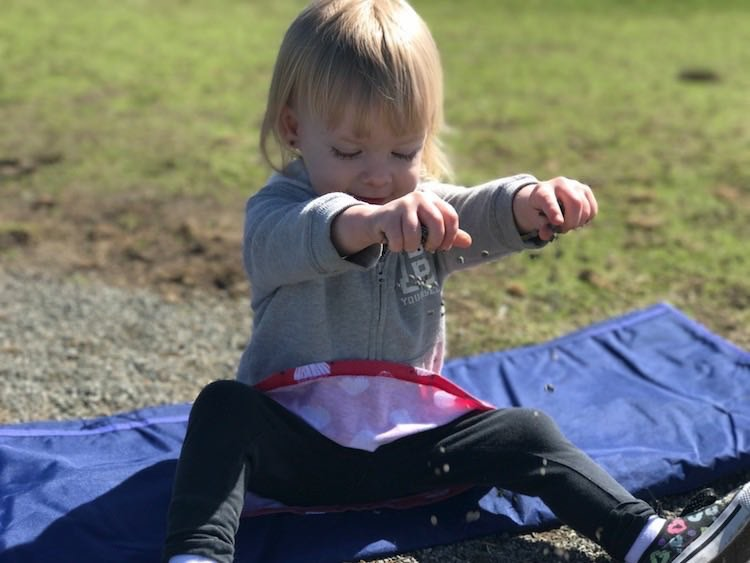 The picnic blanket was helpful even when mostly folded when Ada wanted to sit near a duck infested pond... then I only had to clean her hands afterwards.