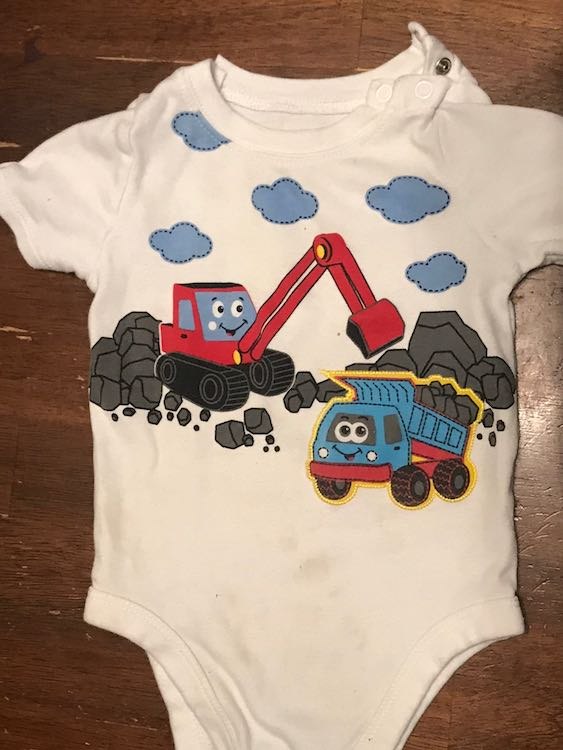 Gerber Walmart onesie with a backhoe and a dump truck on it.