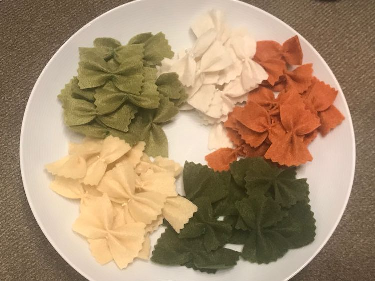 Finished farfalle (bow-tie) pasta!