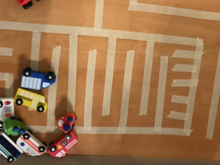 Or a simplified maze for the cars to weave back and forth through.