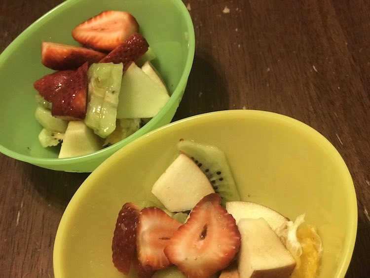 For the kids I just did fruit with some dressing on top.