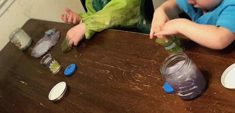 This idea came about after the kids played with slime and wanted to wash their slime toys.