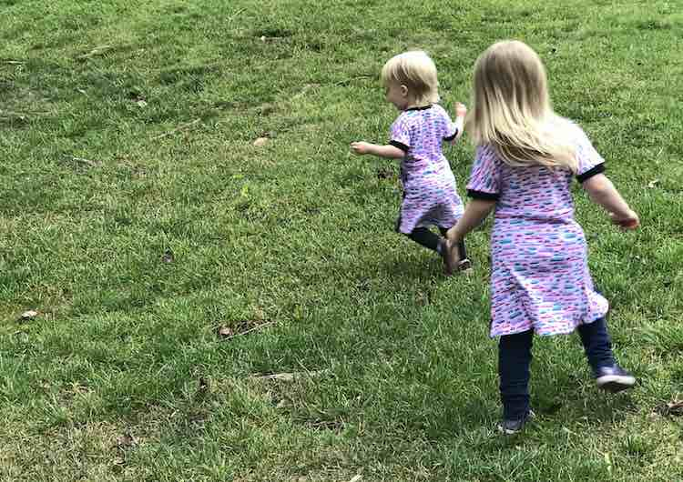Loving the dresses as they run around in circles.