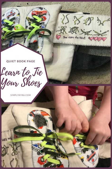Learn how to tie your shoes with a simple shoelace quiet book page with an accompanying diagram.