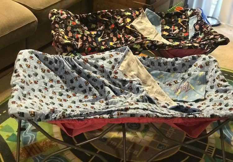 Both cots set up with their newly created sheets.