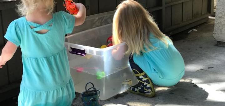 Many toys will be dropped in the bin while the water is also free to help clean your dirty toys off with.
