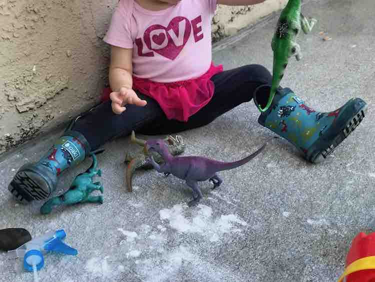 The dinosaurs had a bath in oobleck and are still going strong.