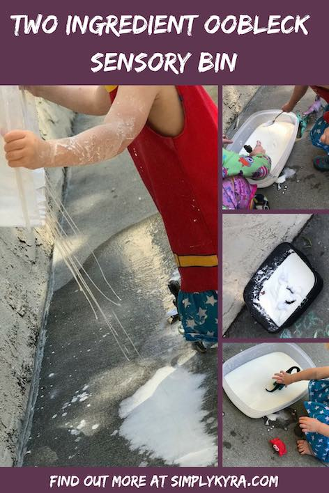 Create a fun sensory bin with only two ingredients required! All you need is cornstarch and water!