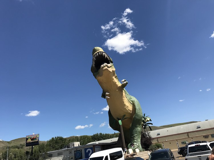 The giant dinosaur towering over the cars and people. If you look closely you may be able to see the guardrail and people inside the mouth.