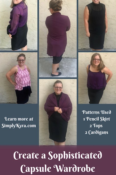 "Create a sophisticated capsule wardrobe. For the ""Turning the Page: Sewing for the Changing Seasons Blog Tour"" I used five Rebecca Page sewing patterns to create seven articles of clothing I can mix and match. These include a pencil skirt, camisole, blouse, and two cardigans."