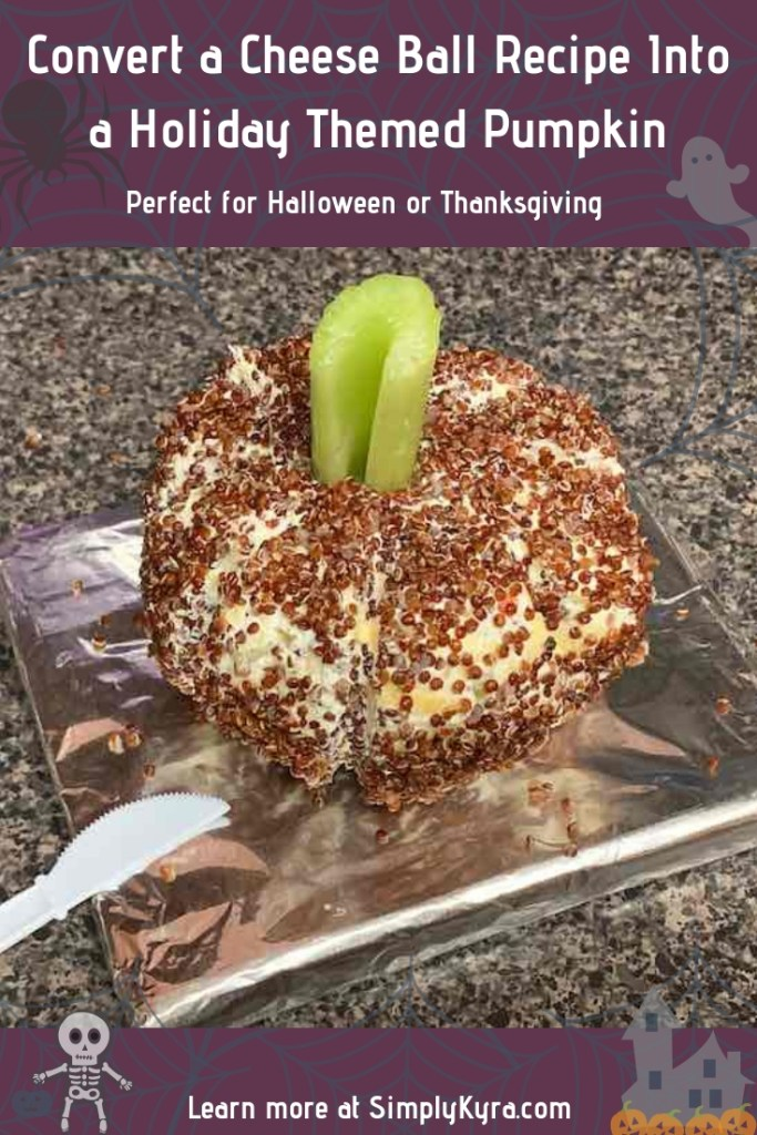 I wanted to share how you can take your favorite cheese ball recipe and easily convert it into a pumpkin for a decorative table spread or a festive potluck item for your Halloween, Autumn, or Thanksgiving table.
