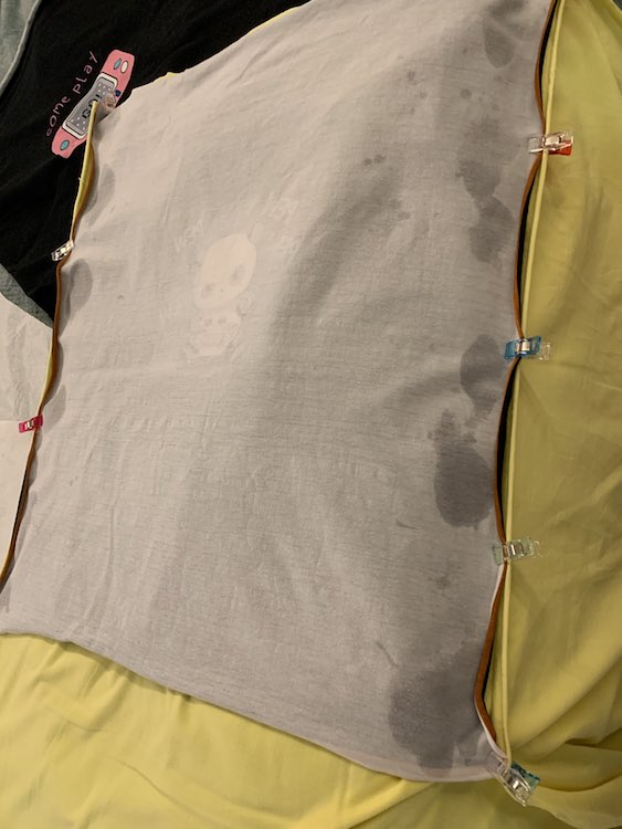 And then I clipped the other side of the panel to the yellow fabric.
