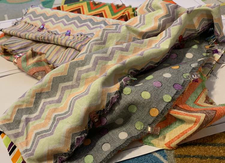 I repeated this with my polka-dotted fabric in between the two types of chevrons.