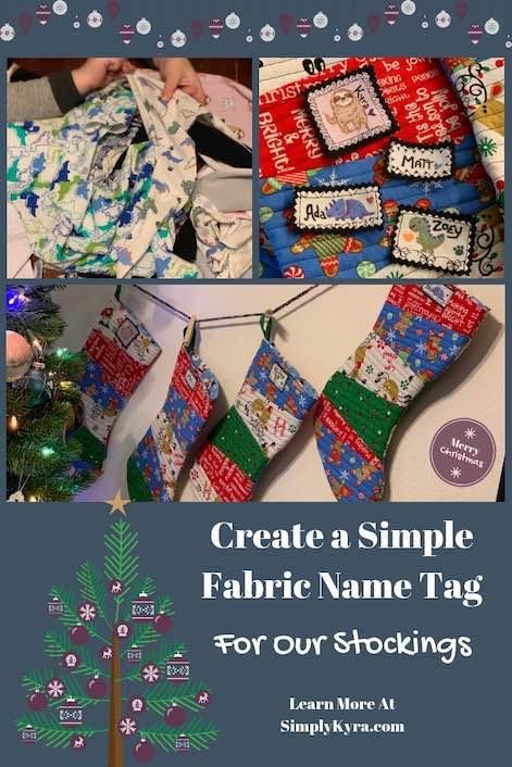 Are you looking to create a simple and adorable name tag? I took knit scraps and turned them into adorable labels for our Christmas stockings!
