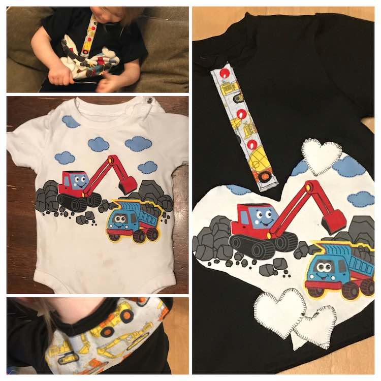 View of the original onesie and the finished polo shirt using the onesie piece.