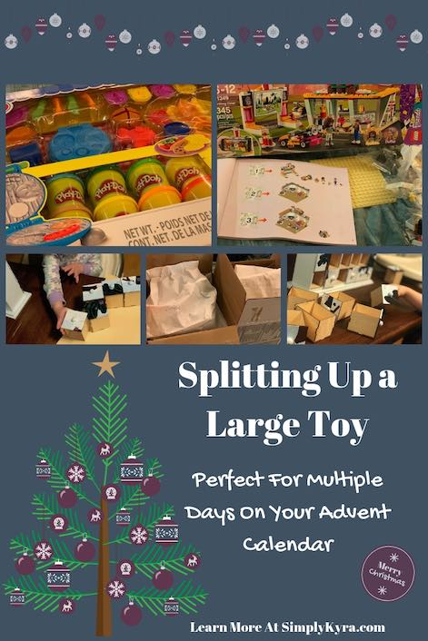This year we decided to buy two larger toys (one for Ada and one for Zoey) and split them up over ten days of their advent calendar. Here's how I split it up!