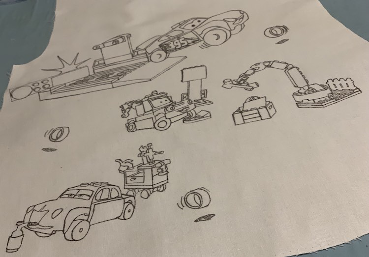 Cars fabric all traced out.