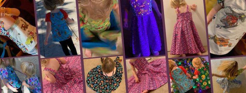 Previously sewn Patsy Party dresses and Olivia tops.