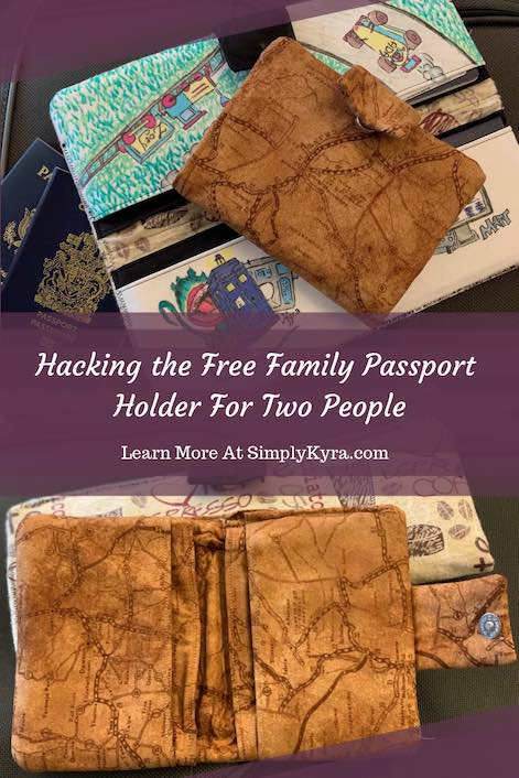 Do you need a passport holder for one or two people? Are you okay losing the entire width of the boarding pass space? I shortened the free Rebecca Page family passport wallet so you have something smaller to hold your passport while traveling.