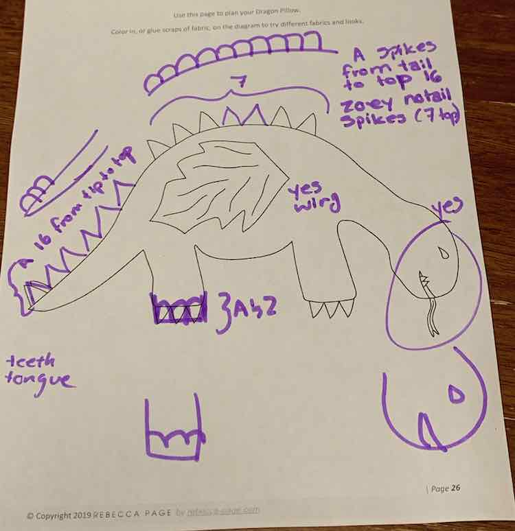 Overall blueprint of how both kids wanted their dinosaur to look like.