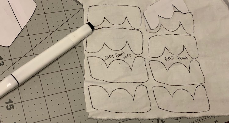 After tracing out the front toes pattern pieces before cutting them out.