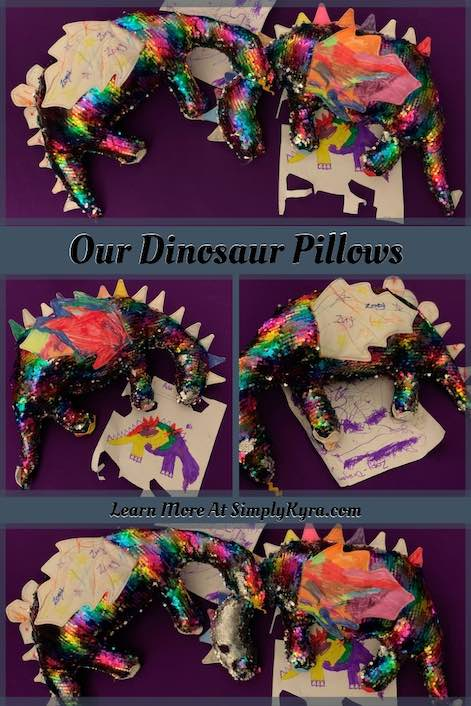 I let the kids go to town designing their own dinosaurs using Rebecca Page's newly released free Dino Dragon Pillow sewing pattern. It's a fun pattern that lets you easily customize the pillow based on what you or your child desires!