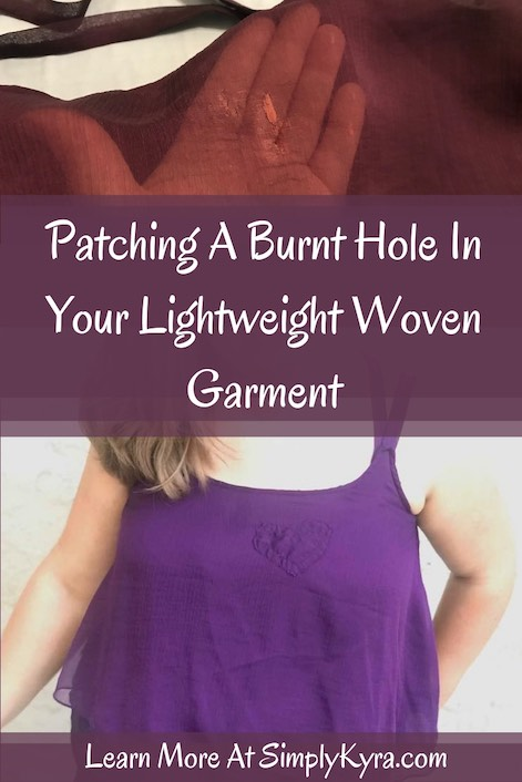 Pinterest image showing the hole in the camisole (top) and the fixed garment (below) along with the blog post title. Both images are also available below.
