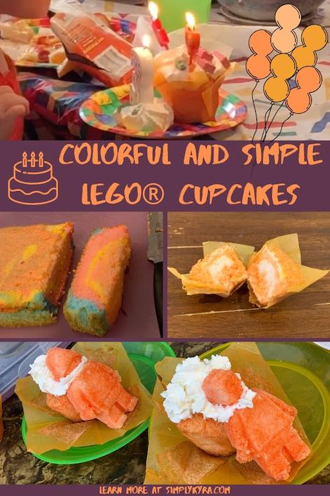 Pinterest collage of multiple orange hued cupcakes and a multicolor cake.