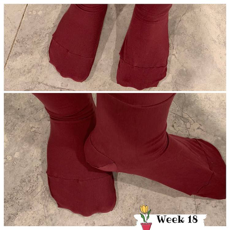 Two different images showing my new socks. The top image shows the top of my foot including the toes and toe seam. The second image shows the side of the one foot and the top of the other.
