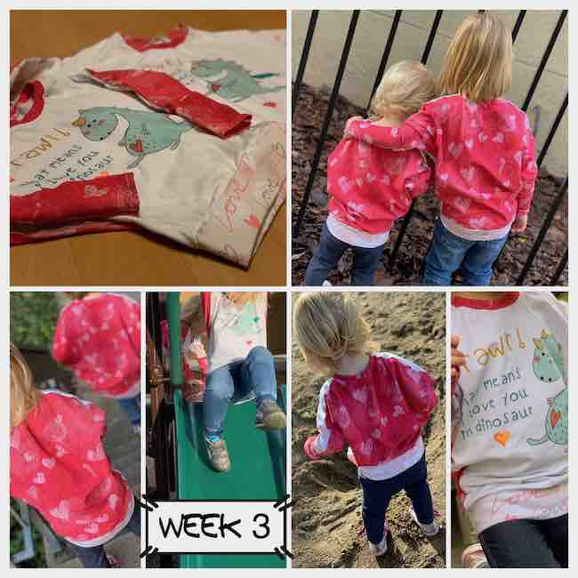 Collage of six images. Top left is a side portrait view of the two shirts on the ground, top right is a back view of the girls with one arm over the other. The bottom four images left to right are the back of the girls walking, front of the shirt on a slide, back of a shirt on sand, and closeup of the front of a shirt.