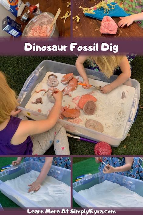Pinterest image showing multiple images of the dinosaur fossil dig.