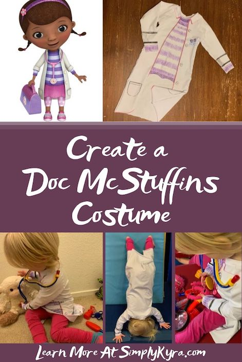 Pinterest image showing the finished Doc McStuffins top